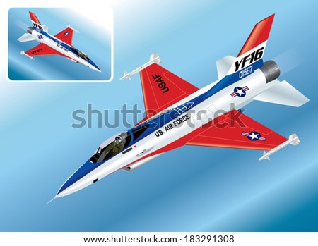 Detailed Isometric Vector Illustration of an F-16 Falcon Fighter Jet - stock vector