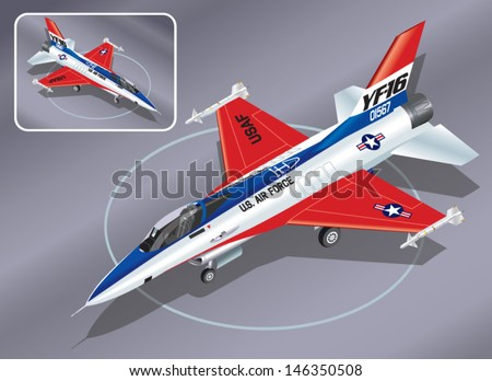 Detailed Isometric Vector Illustration of an F-16 Jet Fighter - stock vector