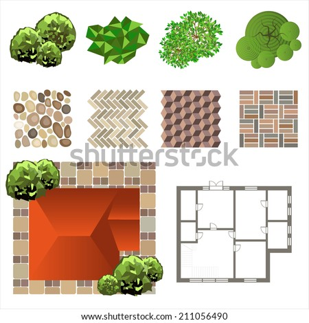 Trees top view landscape design use stock vector 206627380 for Design your own landscape