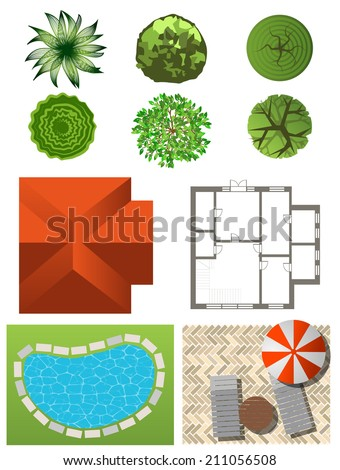 Trees top view landscape design use stock vector 206627380 shutterstock for Design your own landscape plan