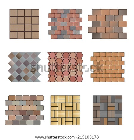 Detailed landscape design elements. Make your own plan. Top view. Paving stone - stock vector