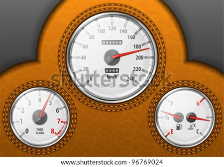 Detailed Leather Car Dashboard with Speedometer, Tachometer, Fuel and Temperature Gauges, vector illustration - stock vector
