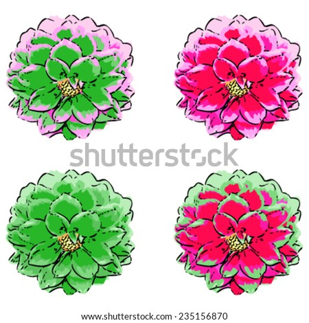 Detailed line drawing , bright color Set .  dahlia.Bright color - stock vector