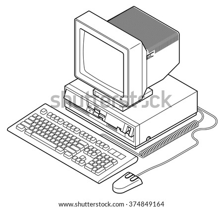 Detailed line drawing of an old vintage/retro obsolete computer.