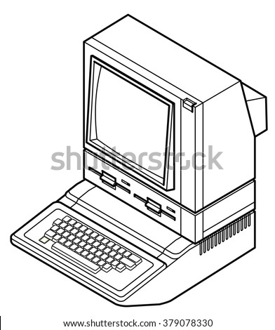 Detailed line drawing of an old vintage/retro obsolete computer.  - stock vector