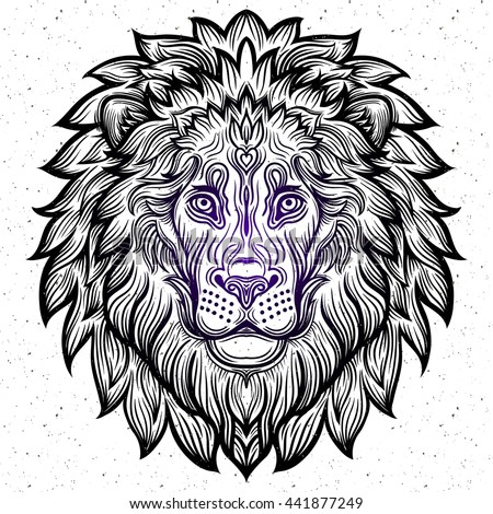 Detailed Lion In Aztec Filigree Line Art Zentangle Style Tattoo Coloring Page For Adult