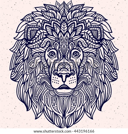 Detailed Lion Aztec Filigree Line