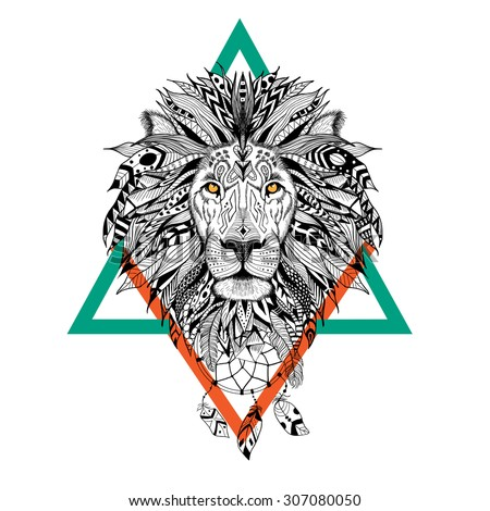 Detailed Lion in aztec style - stock vector