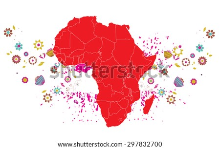 Detailed map of Africa - stock vector