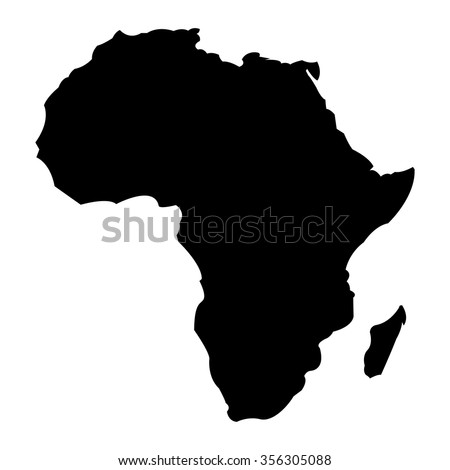 Detailed Map of Africa Continent in Black Silhouette - stock vector
