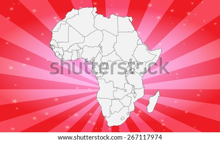 Detailed Map of Africa with Attractive Background - Vector Illustration  - stock vector