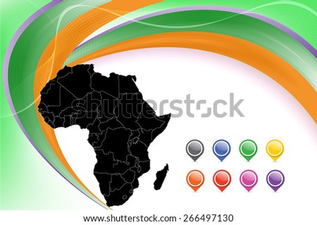 Detailed map of Africa with pins and smooth background - Vector Illustration separable by borders. - stock vector