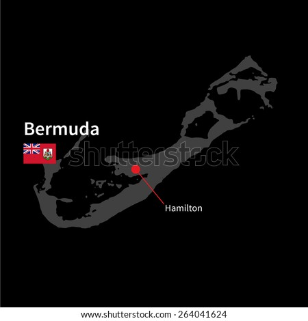 Detailed map of Bermuda and capital city Hamilton with flag on black background - stock vector