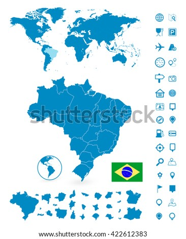Brazil map stock images royalty free images vectors shutterstock detailed map of brazil and world map navigation set vector illustration gumiabroncs Gallery