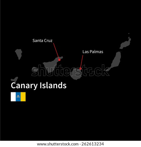 Detailed map of Canary Islands and capital city Santa Cruz with flag on black background - stock vector