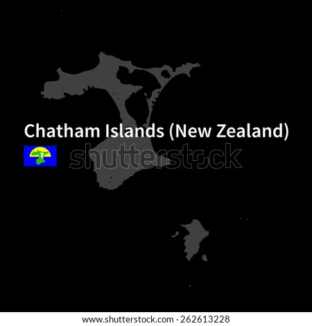Detailed map of Chatham Islands with flag on black background - stock vector
