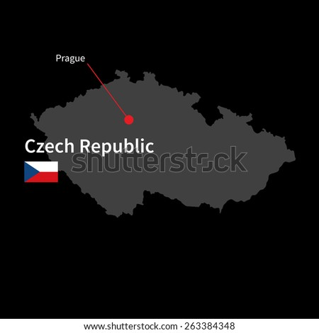 Detailed map of Czech Republic and capital city Prague with flag on black background - stock vector