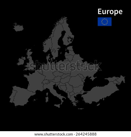 Detailed map of Europe Political map with borders with flag on black background - stock vector