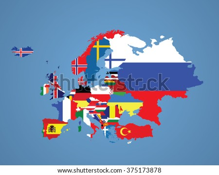 Detailed map of Europe with all the countries flags inside their borders/Europe flags - stock vector