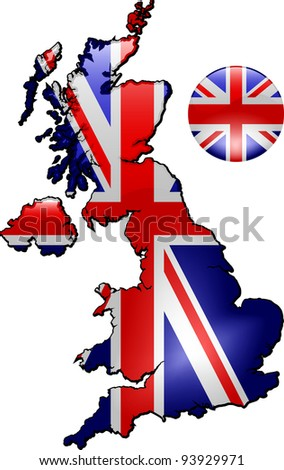Detailed Map of Great Britain - stock vector
