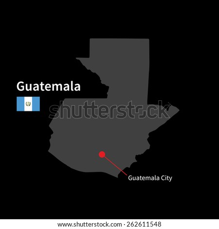 Detailed map of Guatemala and capital city Guatemala City with flag on black background - stock vector