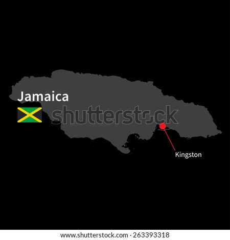 Detailed map of Jamaica and capital city Kingston with flag on black background - stock vector
