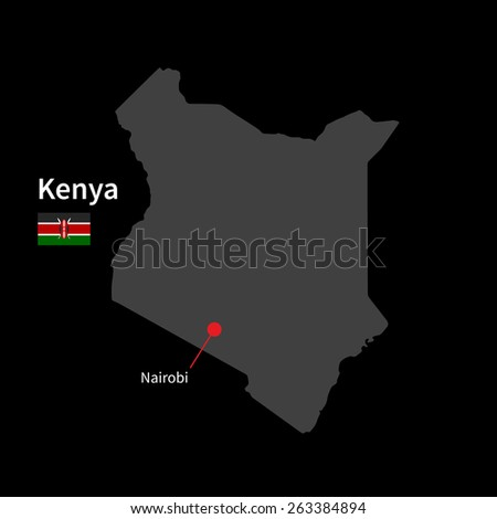 Detailed map of Kenya and capital city Nairobi with flag on black background - stock vector