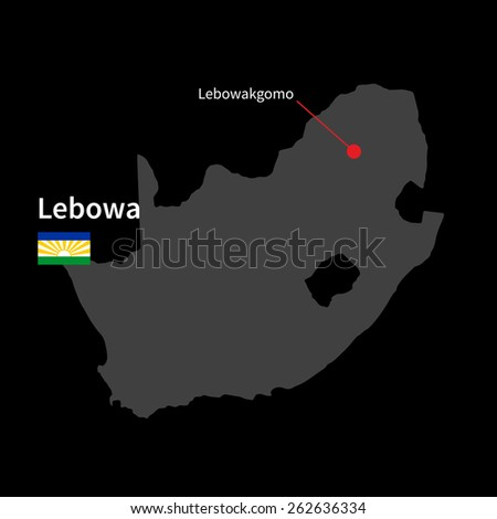 Detailed map of Lebowa and capital city Lebowakgomo with flag on black background