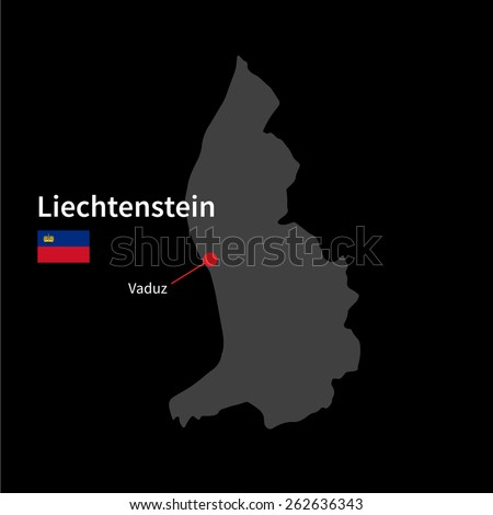 Detailed map of Liechtenstein and capital city Vaduz with flag on black background