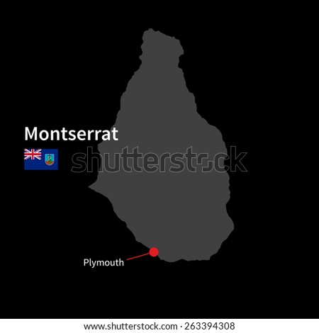 Detailed map of Montserrat and capital city Plymouth with flag on black background - stock vector
