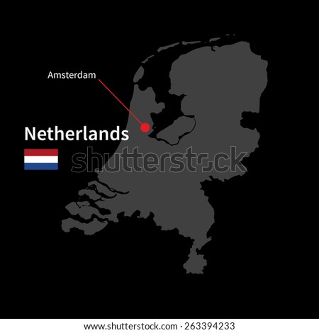 Detailed map of Netherlands and capital city Amsterdam with flag on black background
