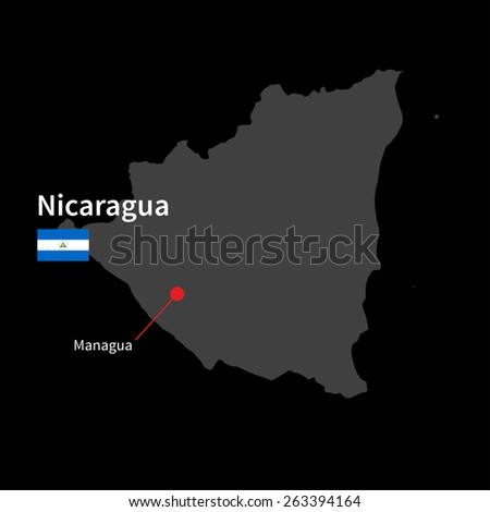 Detailed map of Nicaragua and capital city Managua with flag on black background - stock vector