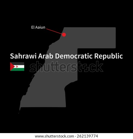 Detailed map of Sahrawi Arab Democratic Republic and capital city El Aaiun with flag on black background
