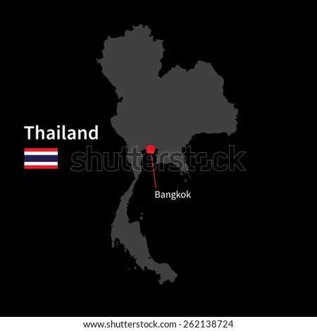 Detailed map of Thailand and capital city Bangkok with flag on black background - stock vector