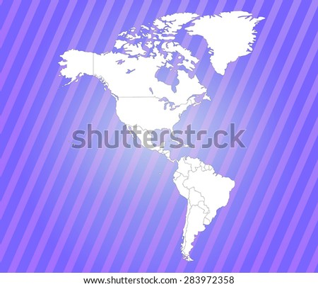 Detailed map of the American Continent - Vector EPS - stock vector