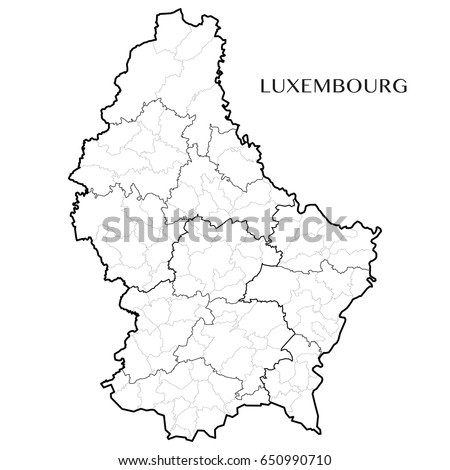 Detailed Map Grand Duchy Luxembourg Borders Stock Vector - Luxembourg map vector