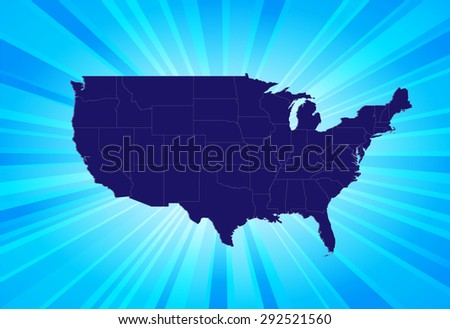 Detailed Map of The United States  - stock vector
