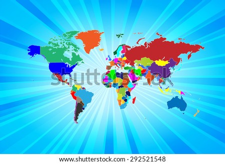 Detailed Map of The World - Separable by borders - stock vector