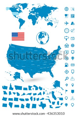 Usa Canada Large Detailed Political Map Stock Vector 482383213