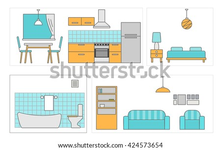 Detailed modern house interior. Rooms with furniture. Bathroom, kitchen, bed , living. Flat style vector illustration.