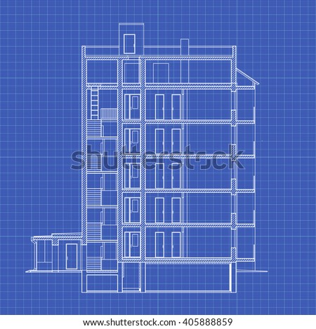 Detailed multistorey building crosssection house vector stock vector detailed multi storey building cross section house vector blueprint malvernweather Image collections