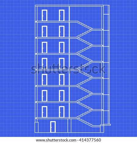 Detailed multistorey building crosssection house vector stock detailed multi storey building cross section house vector blueprint malvernweather Images