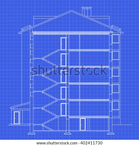 Detailed multistorey building crosssection house vector vector de detailed multi storey building cross section house vector blueprint architectural background malvernweather Gallery