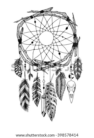 Detailed mystical dreamcatcher made of branches with a crow's skull.