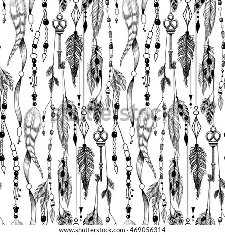 Detailed mystical illustration in boho style with feathers, beads and a key. Seamless pattern.