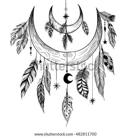 Detailed mystical illustration with feathers, beads, moons, stars and crystals.