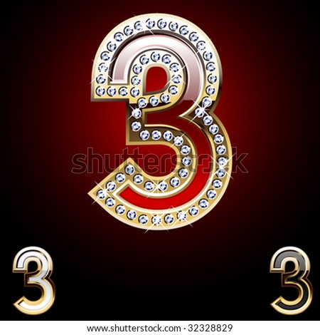 Detailed numbers of gold and diamond - stock vector
