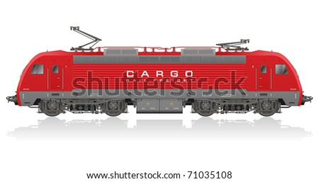 Detailed photorealistic model of electric locomotive - stock vector