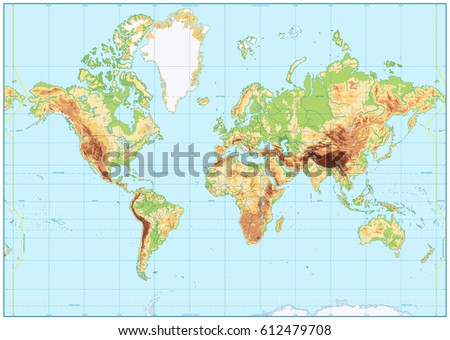 Topographic world map stock images royalty free images vectors detailed physical world map with no labeling vector illustration gumiabroncs Images