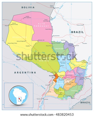 Detailed Political Road Map Paraguay Capital Stock Vector 2018